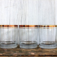 set of 4 vintage tumblers // made in italy // gold trimmed // barware glasses bar ware