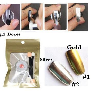 2 Box Mirror Chrome Nail Powder Metallic+Silver Nail Polish Effect Glitter Pigment with 4 Brush Tools Nail Art