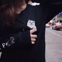 Black Pullover Long Sleeve Autumn Couple Round-neck Tee With Pocket T-shirts