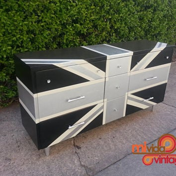 Vintage Refurbished Lacquered Black and Silver Union Jack MId Century Modern Dresser