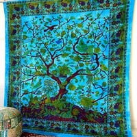 Blue Tree of Life Hippie Wall Tapestries Boho Bohemian Tree Wall Hanging Throw Large Bedspread Bedding Ethnic Home Decorative