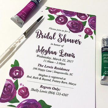 "Watercolor Bridal Shower Invitation SAMPLE - Rose Wedding Shower Card ""Lovely Roses"" Purple Wine Wedding Bridal Shower - Watercolor Wedding"