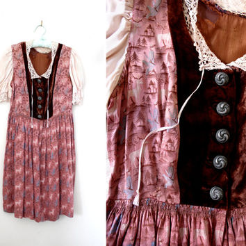 Vintage 1930s Gretel Day Dress with Velvet Top and Crochet Knit Trim - Folk Style Dress - Size Small to Medium
