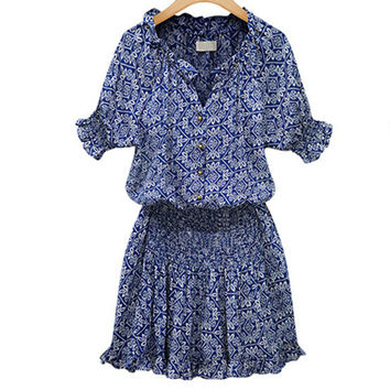 2016 New Women's Fashion Pleated Skater Dress Split Neck Floral Print Button Front Casual A-Line Dress Lady's Shortsleeves Dress