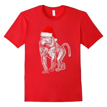 Santa Hat Baboon Costume Tee Christmas Monkey
