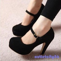 Women's Sexy Suede Mary Jane Ankle Strap Platform Stilettos High Heel Pump Shoes