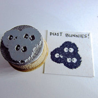Dust Bunnies - Totoro Inspired dust bunnies Rubber Stamp on Reclaimed Wood Mount Small 0.75""