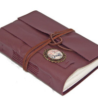 Burgundy Leather Wrap Journal with Cameo Bookmark - Ready to ship -