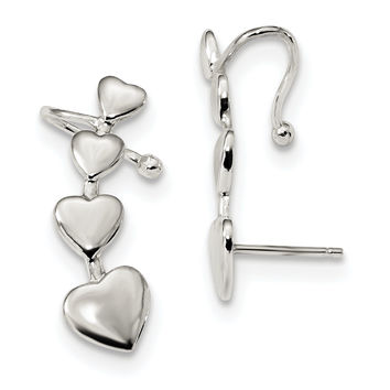 Sterling Silver Polished Hearts Post Cuff Earrings QE13437