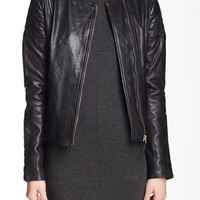 Trudy Collarless Leather Moto Jacket