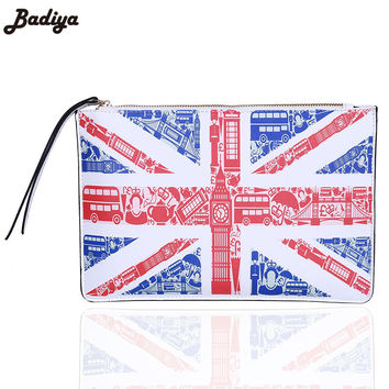 Famous Brand  Day Clutch Phone Bag 3D Printing Handbag Casual Lady PU Leather America British Flag Feminina Bolsa