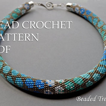 "Pattern for bead crochet necklace ""City Style"" / Bead crochet pattern / Crochet rope pattern / PATTERN ONLY"