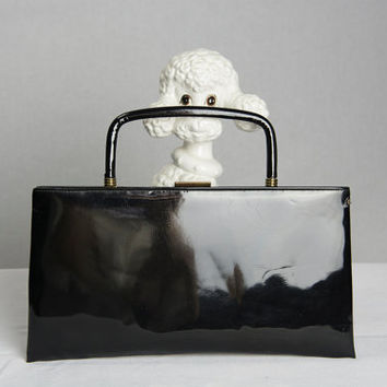 Vintage 60's Faux Black Patent Leather Convertible Evening Bag Clutch Folding Handle by Garay