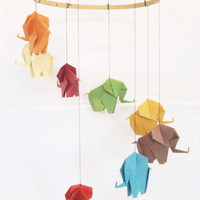 Origami Elephant Mobile, Elephant Mobile, Baby Mobile, Home Decor