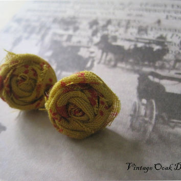 Together in Paris Fabric Flower Earrings  by VintageOoakDesigns