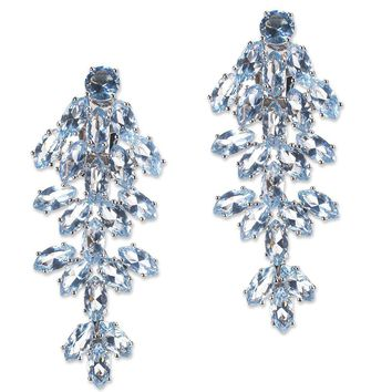 CZ by Kenneth Jay Lane - Aquamarine Marquise Waterfall Clip Earring