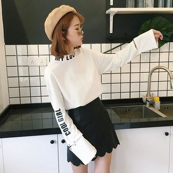 High Collar Letters Printed Hollow Iron Ring Sleeves Sweatshirt Simple Solid Color Autumn New Black And White 2 Color