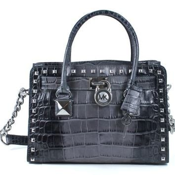 MICHAEL KORS HAMILTON STUDDED EAST WEST SATCHEL GREY CROCO BAG 30F3SHSS3Y