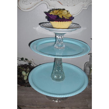 upcycled 3 tier Cupcake Display  server  by MamaLisasCottage