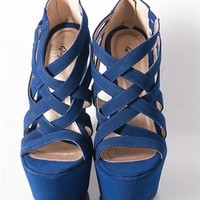 Criss Cross Wedge Sandals - Royal from Sandals at Lucky 21 Lucky 21