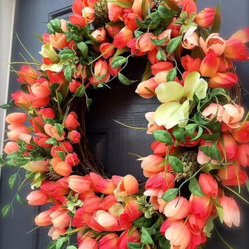 Tulip Wreaths Spring Tulip Door Wreaths Coral Colors Mother's Day Gift Full Wreaths Tulips