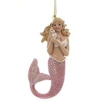 Holiday Ornaments MERMAID WITH SHELLS Polyresin Ocean Beach Sand C7601 Pink