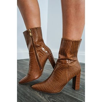What It's All About Booties: Cognac