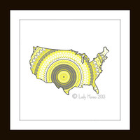 US Map Poster Print - Grey and yellow geometric art, grey and yellow decor, home decor, dorm decor, geometrical pattern
