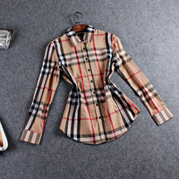 Plaid Long Sleeve Button Collared Shirt