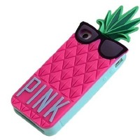 Mingfung Pineapple Fashion 3d Fruit Ananas Style Soft Case Protective Cover for for Iphone 5/5c Hot Pink