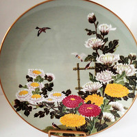 Franklin Mint Flowers and Birds of the Orient Tree Sparrow and Chrysanthemum Hand Painted Decorator Plate,  1979