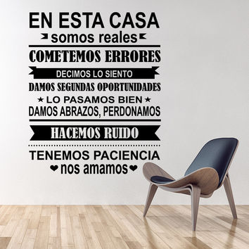 Spanish EN ESTA CASA House Rules Wall Sticker Home decor Family Quote house Decoration Vinyl Wall Decals kids room Freeshipping