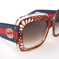 GUCCI Women's Sunglasses GG3862/S Havana Blue 54-22-145 MADE IN ITALY - New!