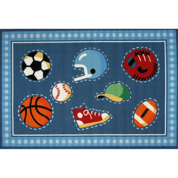 Fun Rugs Olive Kids Collection Go Team! Area Rug