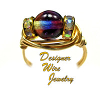 DWJ0435 Gorgeous Czech Art Glass Purple Blue Jonquil Gold Wire Wrap Ring All Sizes