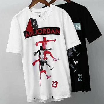 NIKE AIR Jordan cotton breathable male trend basketball T-shirt F-A-BM-YSHY White