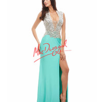 Cassandra Stone by Mac Duggal 85254A Plunging V-Neck Aqua Gown 2015 Prom Dresses