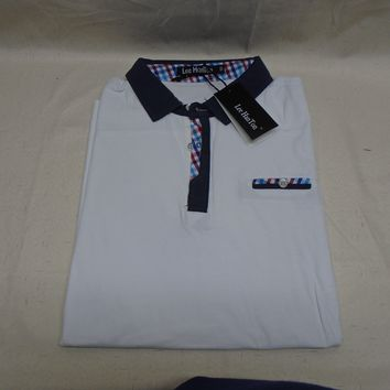 Lee Hanton Men's White Collared Polo T-Shirt Navy Blue & Plaid Accent Size Small