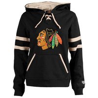 Women's Chicago Blackhawks Old Time Hockey Black Grant Lace-Up Slim Fit Hoodie