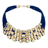 Cord Multi-Row Necklace - Navy Blue