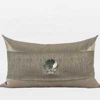 "Gray Gold Round Shell Splicing Pillow 12""X20"""