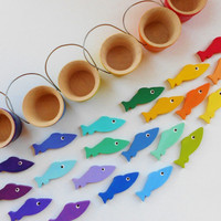 Gone Fishing kids wood montessori color sorting, counting, and matching game buckets of fish