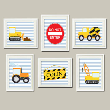 CONSTRUCTION WALL ART, Trucks Nursery, Boy Wall Art, Name Nursery Big Boy Bedroom Decor Bulldozer Crane Wall Art Set of 6 Prints Or Canvas