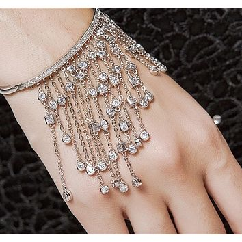 Cubic Zirconia Tassel Bangles For Women