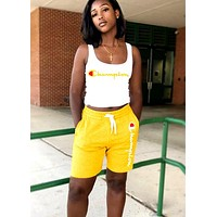Champion Tide brand women's sports and leisure street letter printing two-piece yellow