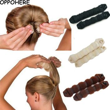 2Pcs Set 1 Large 1 Small Magic Hair Bun Wrap Hairpin Bun Maker Flaxen Hair Ring 2017 Hot Sale