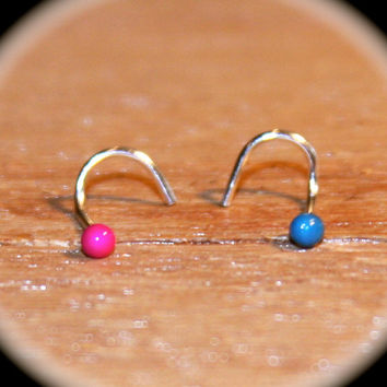 Set of 2 - Itty Bitty 2mm Hot Pink and Teal Nose Studs, 22 gauge, Small Nose Ring, L-Shape, Left and Right Screw, Piercing Jewelry