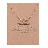 The Amount Of Hollow Diamond Card Alloy Clavicle Pendant Necklace  171208