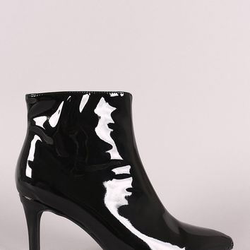 Bamboo Vegan Patent Leather Pointy Toe Booties