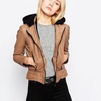 Doma Leather Jacket With Detatchable Teddy Fur Hood